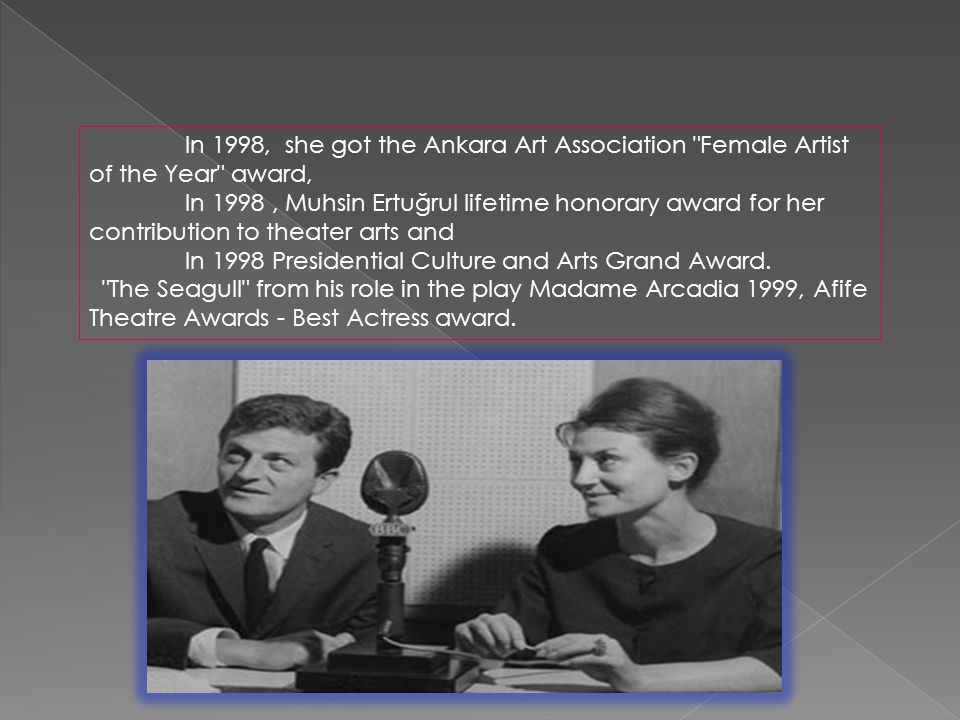 In 1998, she got the Ankara Art Association Female Artist of the Year award, In 1998, Muhsin Ertuğrul lifetime honorary award for her contribution to theater arts and In 1998 Presidential Culture and Arts Grand Award.