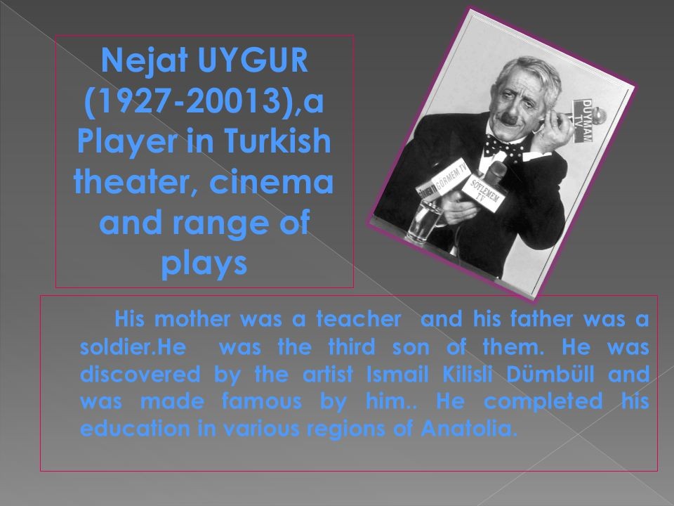 Yıldız Kenter ( Ayse Yildiz, born on 11 October 1928,in Istanbul), A Turkish theater and cinema artist.