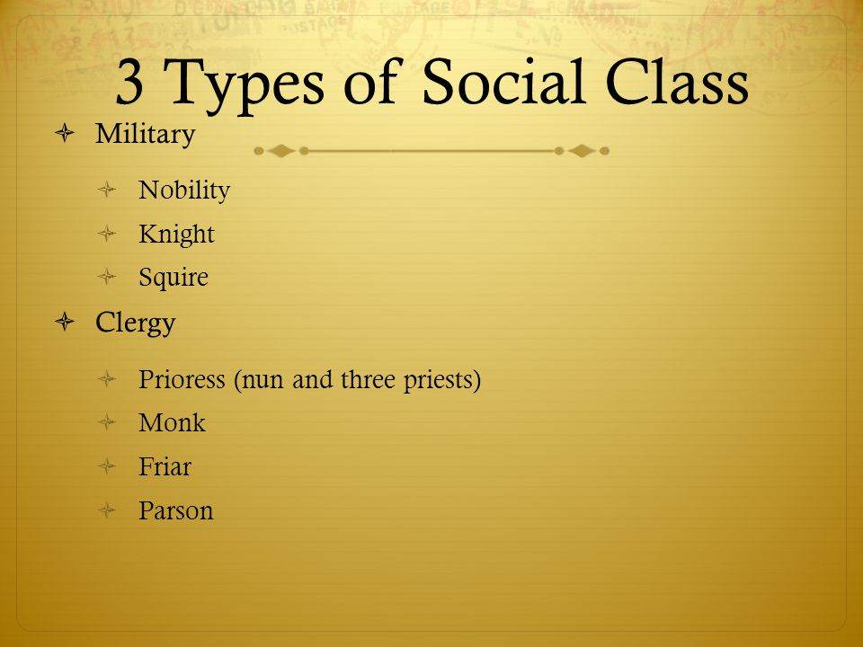 Social Class (con't)  Laity  Landowners  Franklin  Professionals  Clerk, Man of law, Guildsmen, Physician (doctor), Shipman (skipper)  Laborers  Cook and Plowman  Stewards  Miller, Manciple and Reeve  Church officers  Summoner and Pardoner