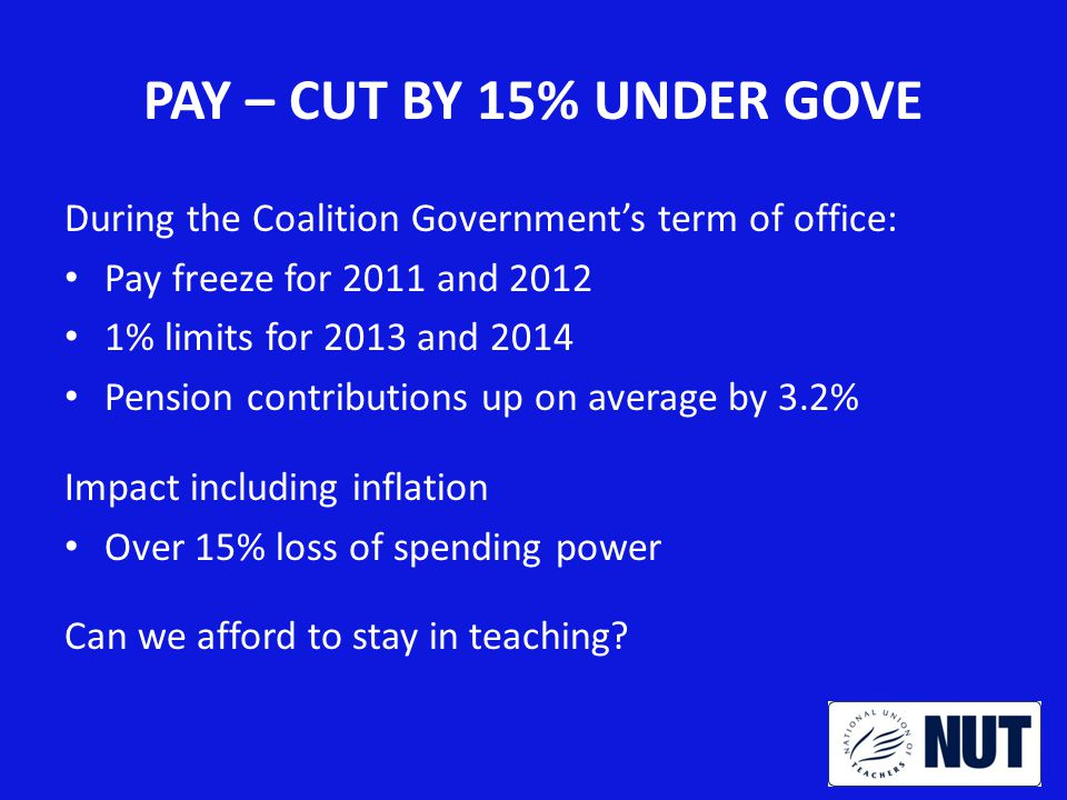 PAY – CUT BY 15% UNDER GOVE During the Coalition Government's term of office: Pay freeze for 2011 and 2012 1% limits for 2013 and 2014 Pension contributions up on average by 3.2% Impact including inflation Over 15% loss of spending power Can we afford to stay in teaching?