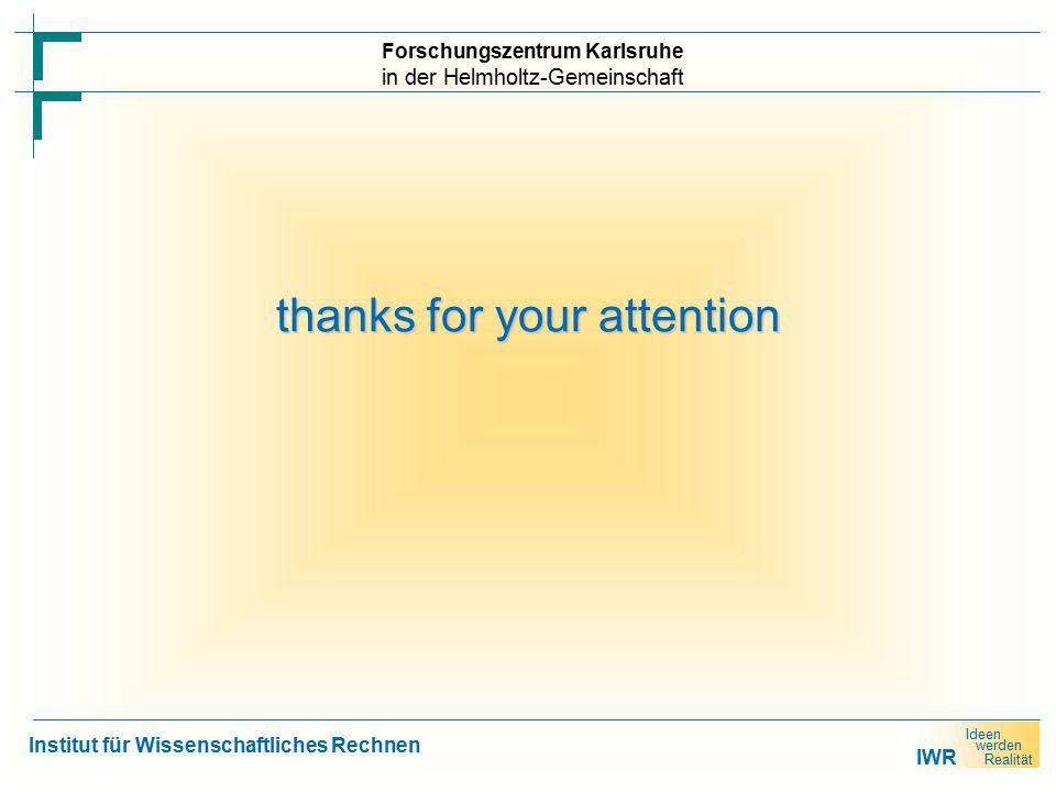 IWR Ideen werden Realität Forschungszentrum Karlsruhe in der Helmholtz-Gemeinschaft Institut für Wissenschaftliches Rechnen thanks for your attention