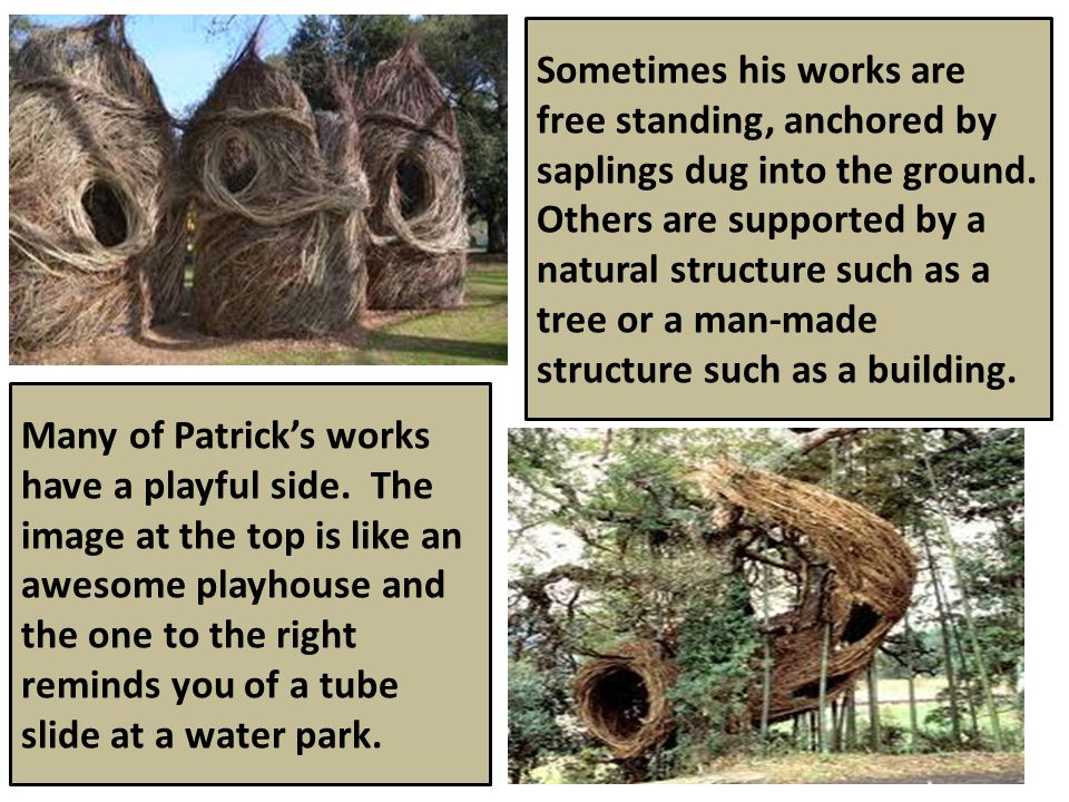 Sometimes his works are free standing, anchored by saplings dug into the ground.
