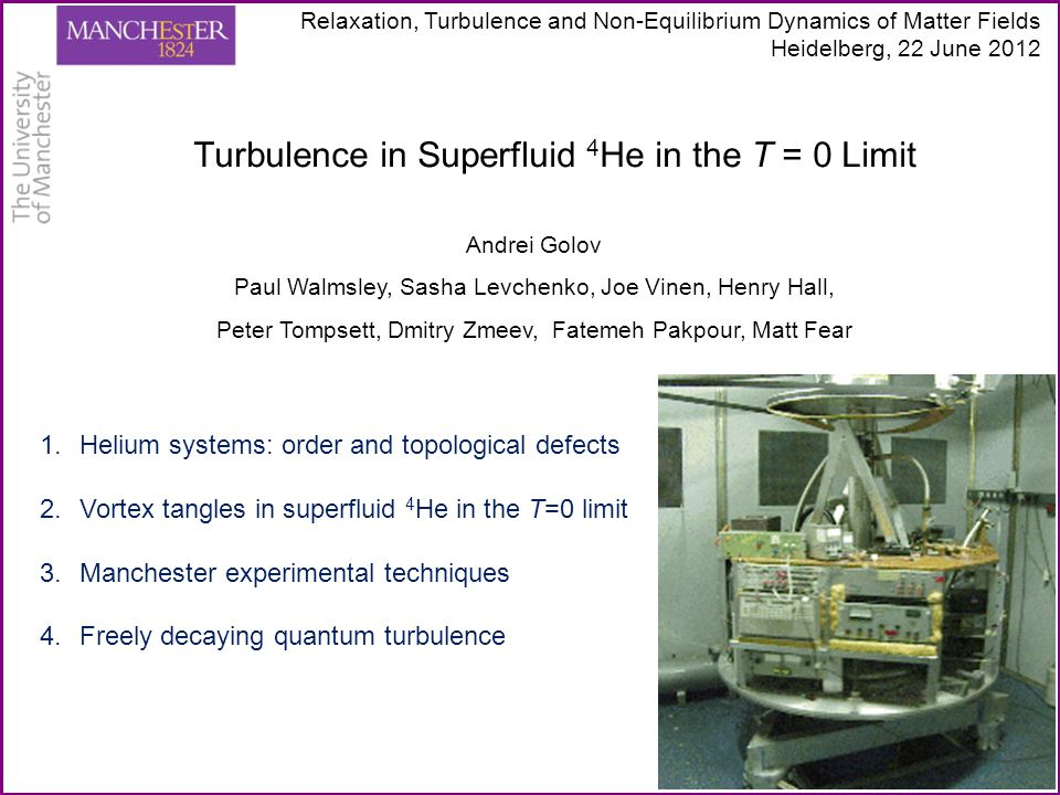 Condensed helium atoms (low mass, weak attraction) = Quantum Fluids and Solids Superfluid 4 He – simple o.