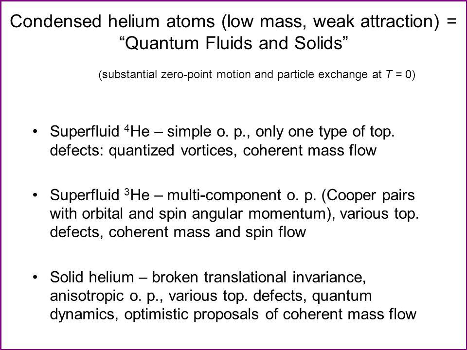 Superfluid 4 He Superfluid component: inviscid & irrotational.