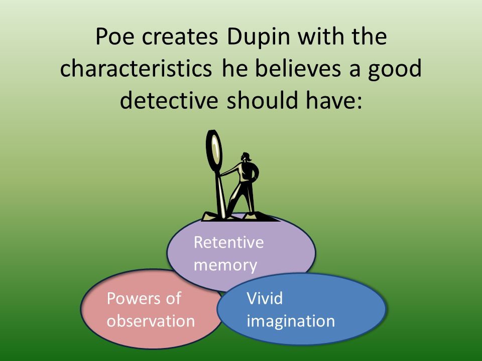 Poe creates Dupin with the characteristics he believes a good detective should have: Powers of observation Retentive memory Vivid imagination Vivid im