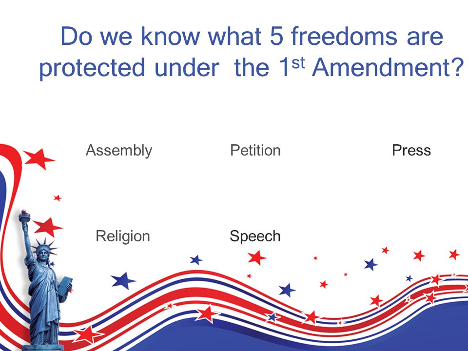 Do we know what 5 freedoms are protected under the 1 st Amendment.