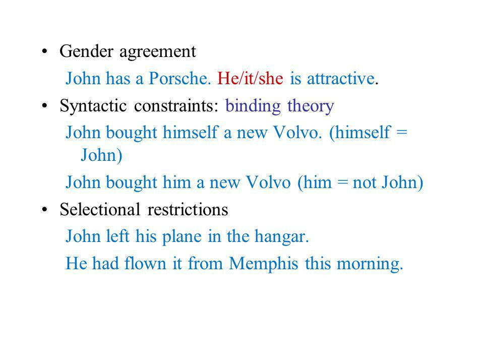 Gender agreement John has a Porsche. He/it/she is attractive.