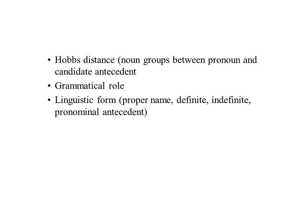 Hobbs distance (noun groups between pronoun and candidate antecedent Grammatical role Linguistic form (proper name, definite, indefinite, pronominal antecedent)