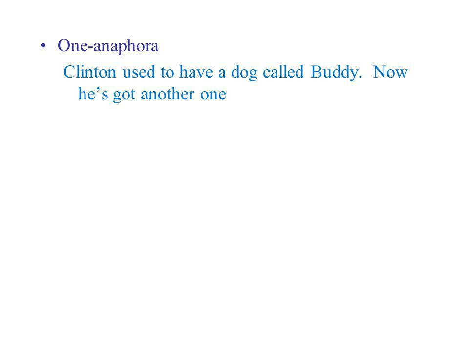 One-anaphora Clinton used to have a dog called Buddy. Now he's got another one