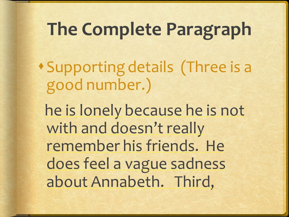 The Complete Paragraph  Supporting details (Three is a good number.) he is lonely because he is not with and doesn't really remember his friends. He