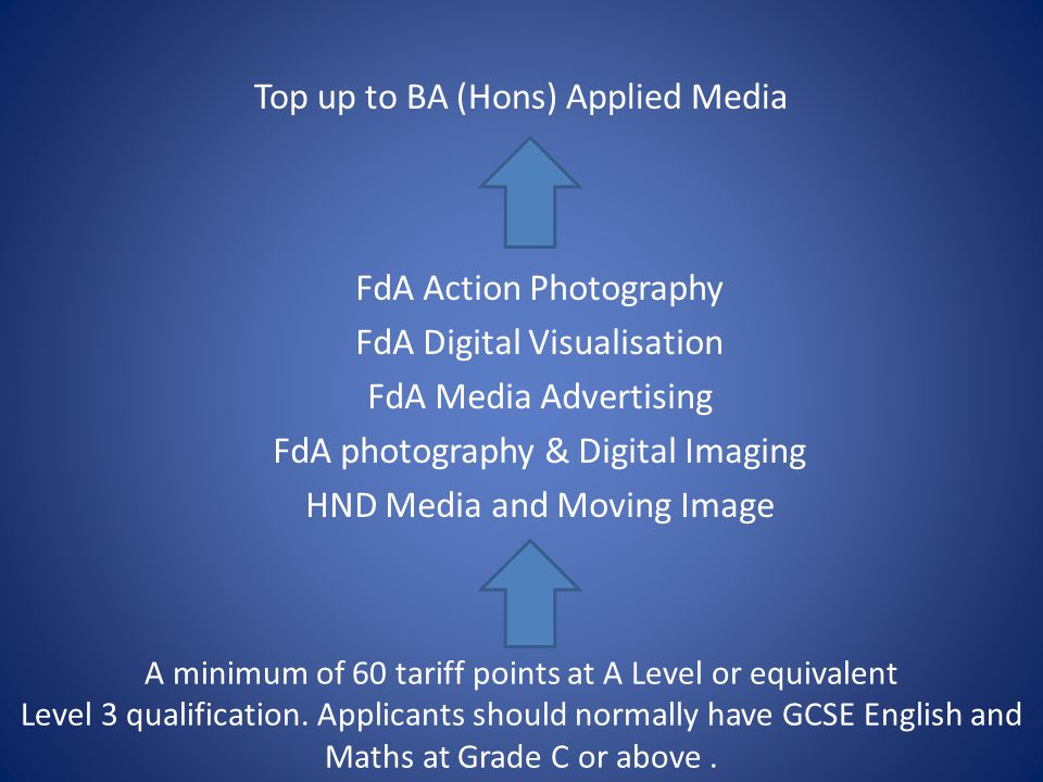 FdA Action Photography FdA Digital Visualisation FdA Media Advertising FdA photography & Digital Imaging HND Media and Moving Image Top up to BA (Hons) Applied Media A minimum of 60 tariff points at A Level or equivalent Level 3 qualification.