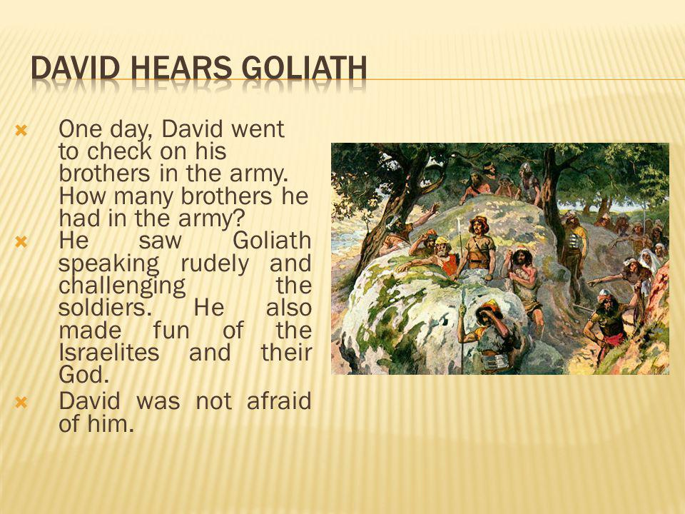 One day, David went to check on his brothers in the army. How many brothers he had in the army?  He saw Goliath speaking rudely and challenging the