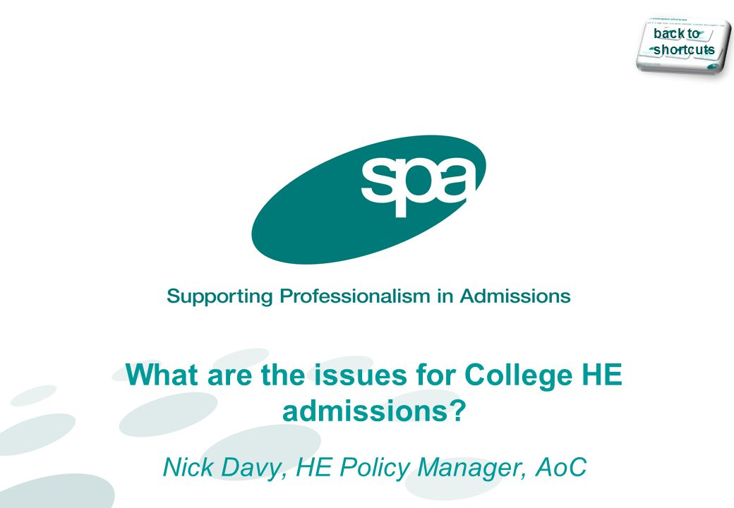What are the issues for College HE admissions? Nick Davy, HE Policy Manager, AoC back to shortcuts