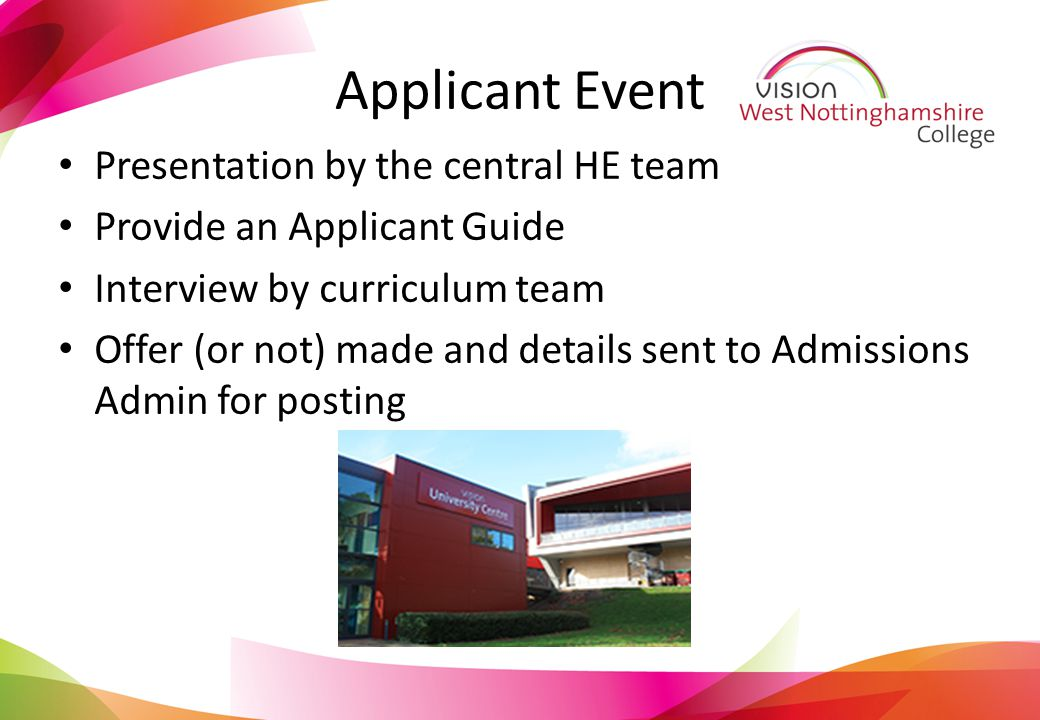 Applicant Event Presentation by the central HE team Provide an Applicant Guide Interview by curriculum team Offer (or not) made and details sent to Admissions Admin for posting