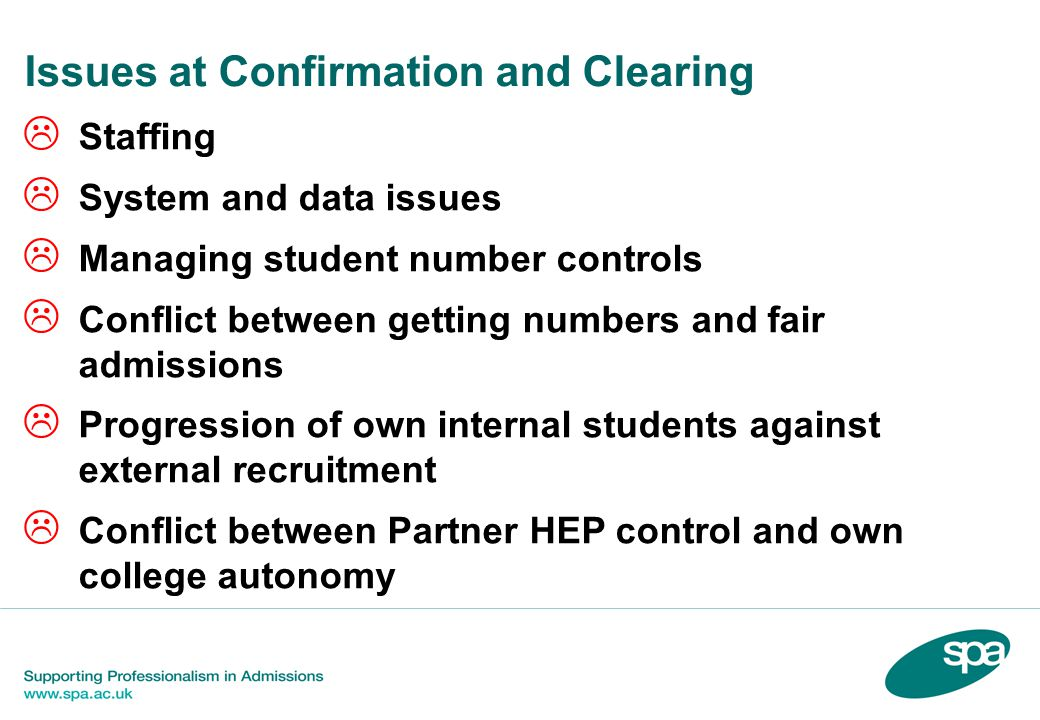 Issues at Confirmation and Clearing  Staffing  System and data issues  Managing student number controls  Conflict between getting numbers and fair