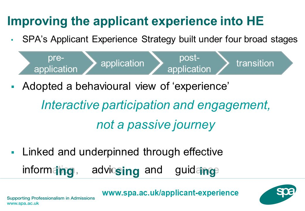 Improving the applicant experience into HE SPA's Applicant Experience Strategy built under four broad stages  Adopted a behavioural view of 'experience' Interactive participation and engagement, not a passive journey  Linked and underpinned through effective information, advice and guidance pre- application application post- application transition ing sing www.spa.ac.uk/applicant-experience