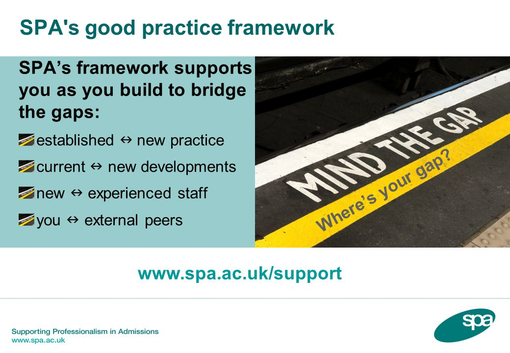 SPA's good practice framework SPA's framework supports you as you build to bridge the gaps: established new practice current new developments new expe