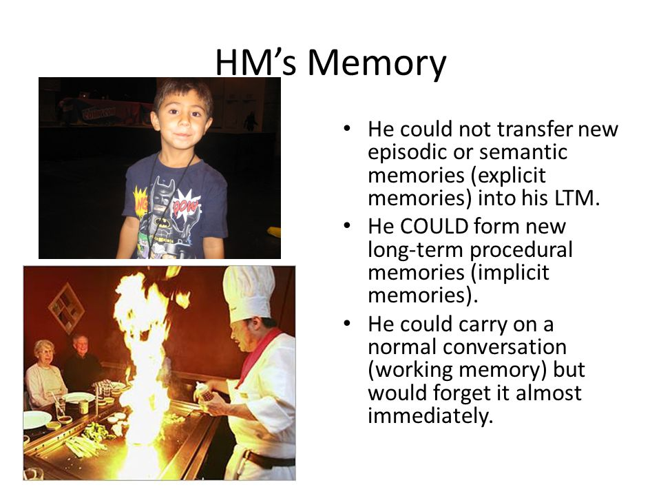 HM's Memory He could not transfer new episodic or semantic memories (explicit memories) into his LTM. He COULD form new long-term procedural memories