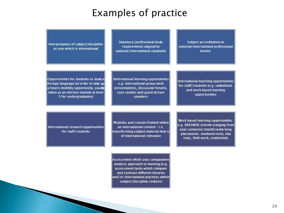 Interpretation of subject/discipline as one which is international Statutory/professional body requirements aligned to national/international standard