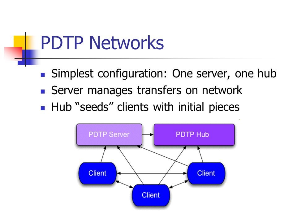 "PDTP Networks Simplest configuration: One server, one hub Server manages transfers on network Hub ""seeds"" clients with initial pieces"