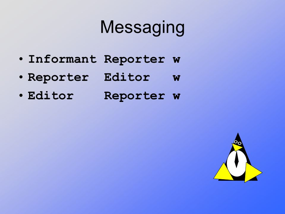 Messaging Informant Reporter w Reporter Editor w Editor Reporter w