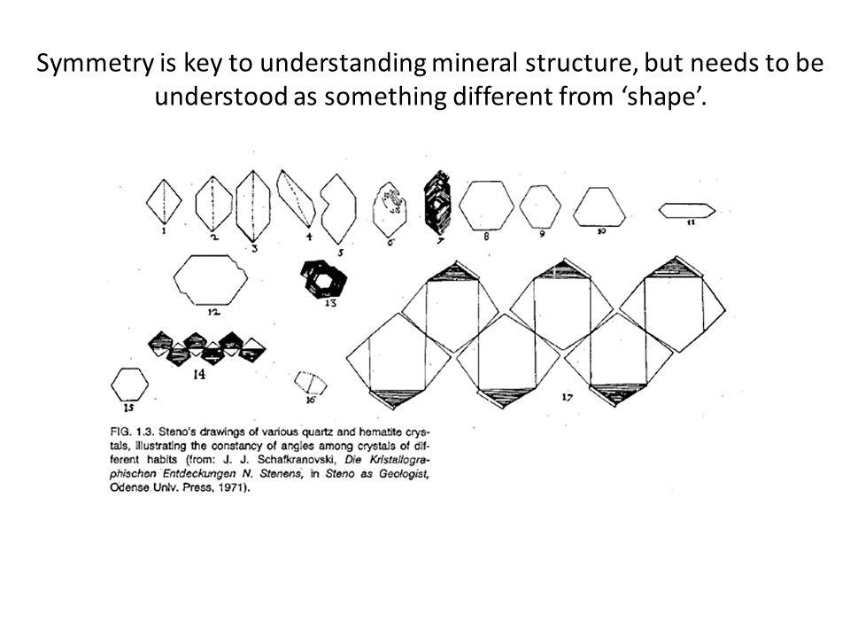 Symmetry is key to understanding mineral structure, but needs to be understood as something different from 'shape'.