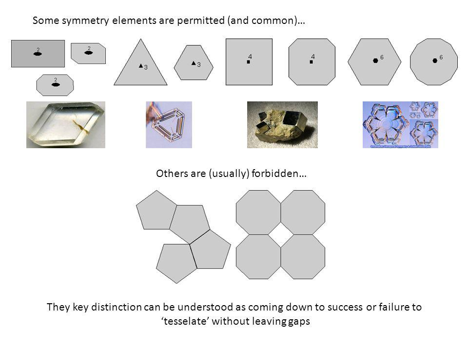 Some symmetry elements are permitted (and common)… Others are (usually) forbidden… They key distinction can be understood as coming down to success or failure to 'tesselate' without leaving gaps