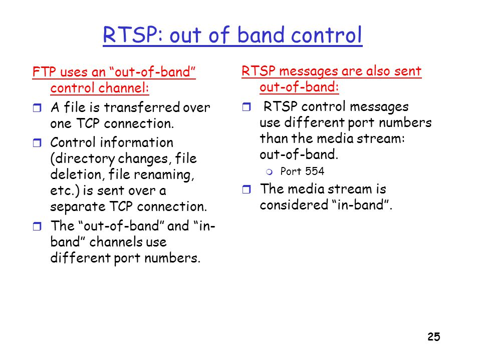 26 RTSP Example Scenario: r metafile communicated to web browser r browser launches player r player sets up an RTSP control connection, data connection to streaming server