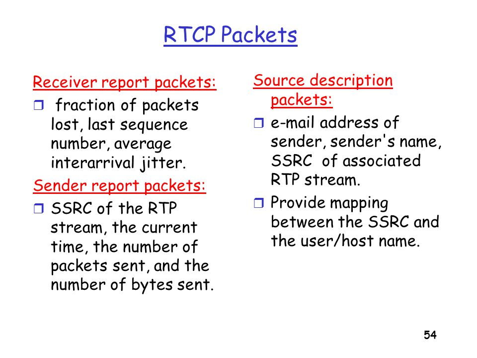 55 Synchronization of Streams r RTCP can synchronize different media streams within a RTP session.