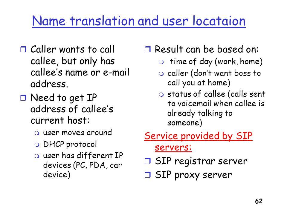 63 SIP Registrar REGISTER sip:domain.com SIP/2.0 Via: SIP/2.0/UDP 193.64.210.89 From: sip:bob@domain.com To: sip:bob@domain.com Expires: 3600 r When Bob starts SIP client, client sends SIP REGISTER message to Bob's registrar server (similar function needed by Instant Messaging) Register Message: