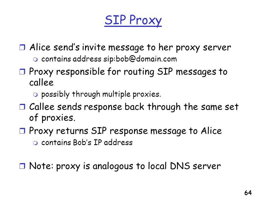 65 Example Caller jim@umass.edu with places a call to keith@upenn.edu (1) Jim sends INVITE message to umass SIP proxy.