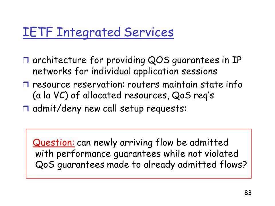 84 Intserv: QoS guarantee scenario r Resource reservation m call setup, signaling (RSVP) m traffic, QoS declaration m per-element admission control m QoS-sensitive scheduling (e.g., WFQ) request/ reply