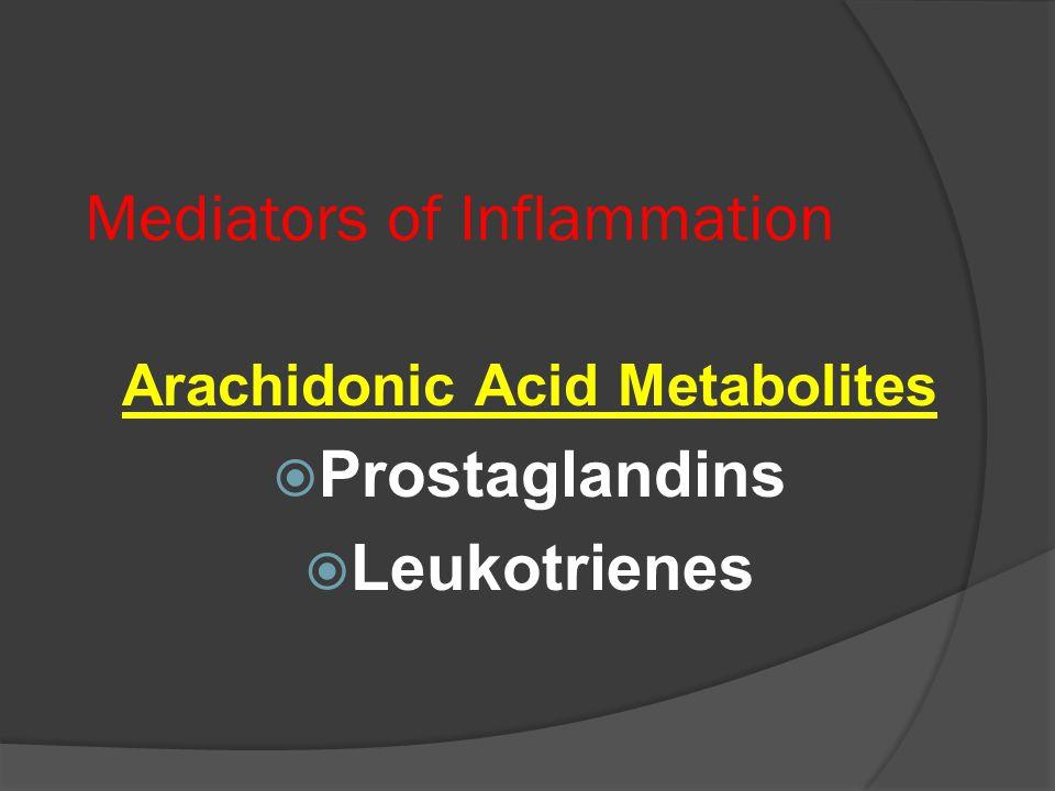 Mediators of Inflammation Arachidonic Acid Metabolites  Prostaglandins  Leukotrienes