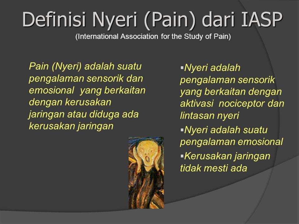 Definisi Nyeri (Pain) dari IASP Pain (Nyeri) adalah suatu pengalaman sensorik dan emosional yang berkaitan dengan kerusakan jaringan atau diduga ada k
