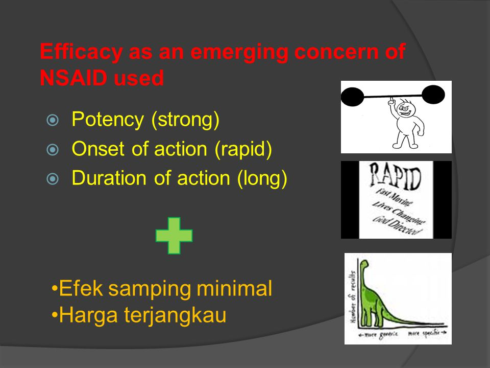 Efficacy as an emerging concern of NSAID used  Potency (strong)  Onset of action (rapid)  Duration of action (long) Efek samping minimal Harga terj