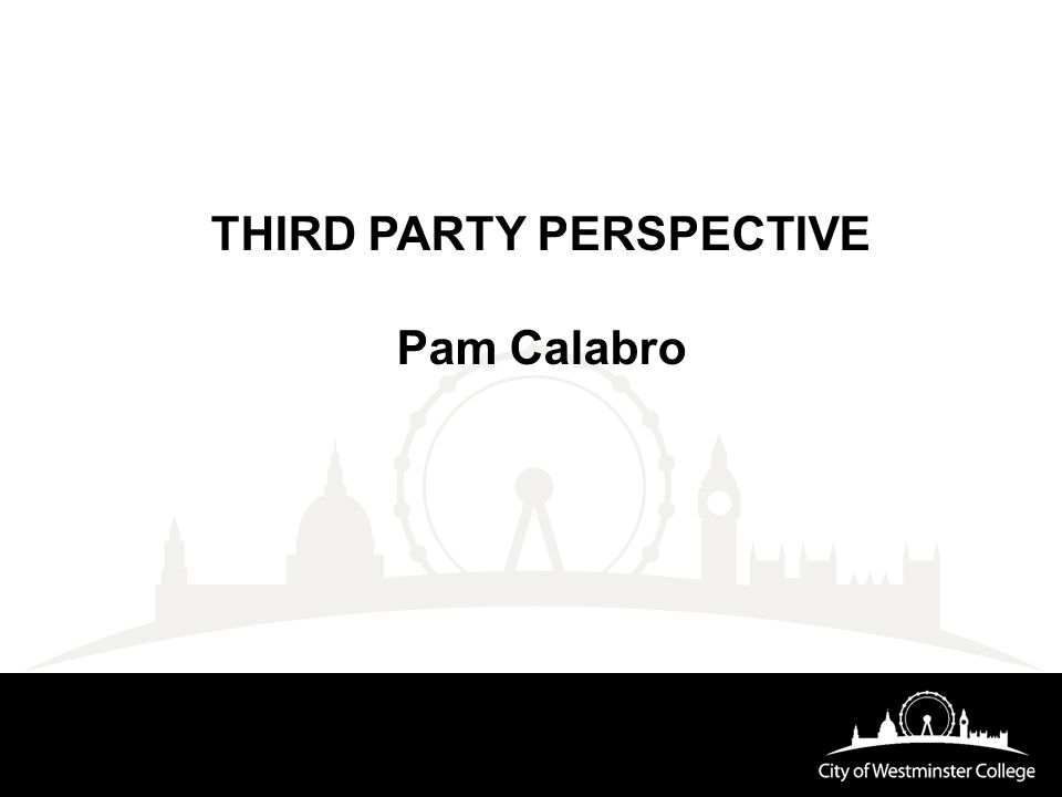 THIRD PARTY PERSPECTIVE Pam Calabro