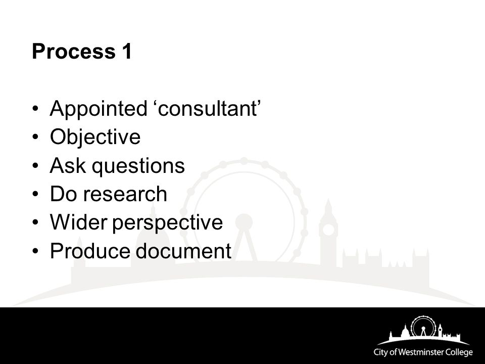 Process 1 Appointed 'consultant' Objective Ask questions Do research Wider perspective Produce document