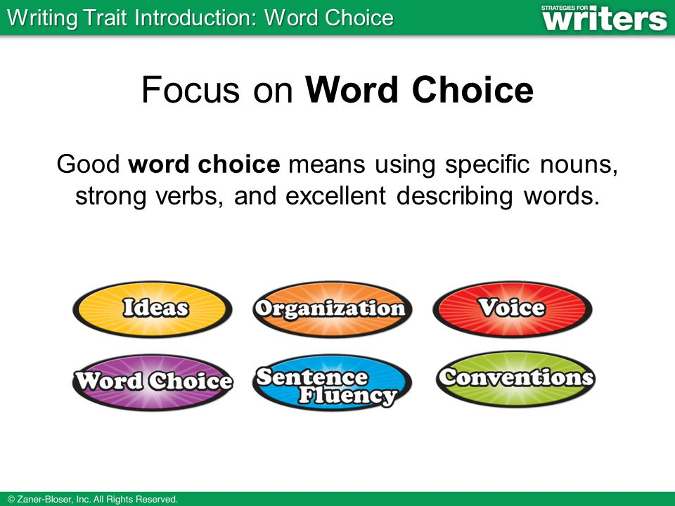 Focus on Word Choice Good word choice means using specific nouns, strong verbs, and excellent describing words.