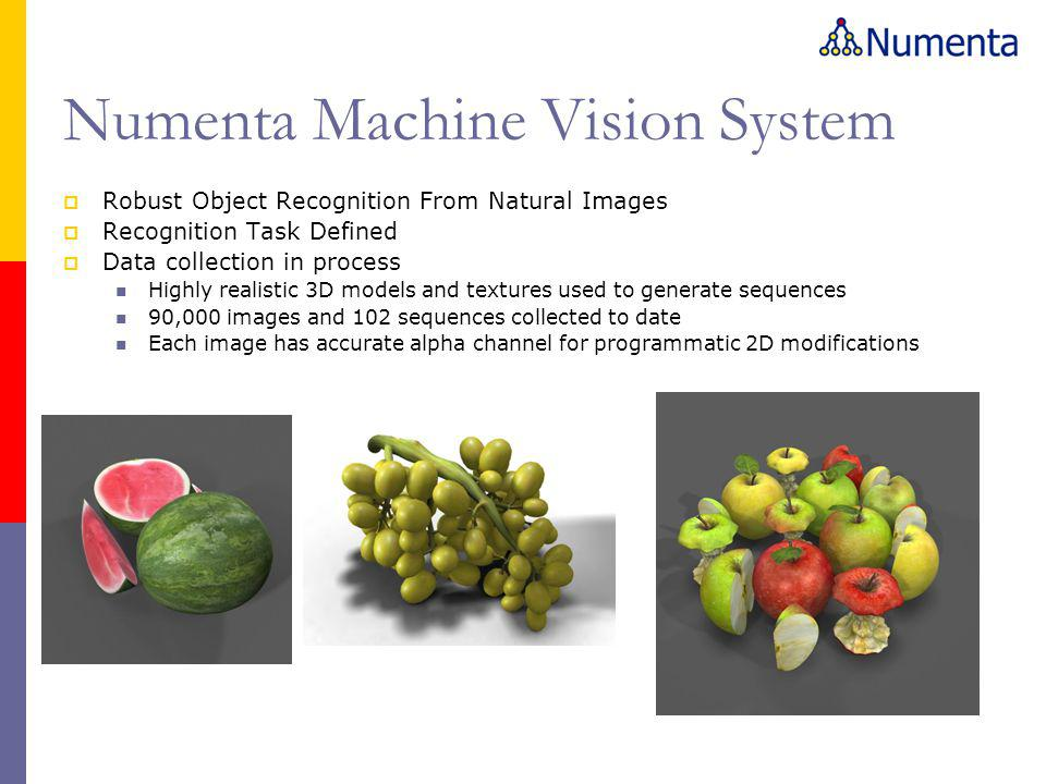 Numenta Machine Vision System  Robust Object Recognition From Natural Images  Recognition Task Defined  Data collection in process Highly realistic 3D models and textures used to generate sequences 90,000 images and 102 sequences collected to date Each image has accurate alpha channel for programmatic 2D modifications