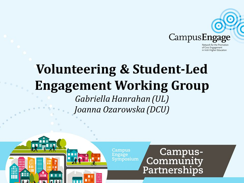 Actioning Engagement Conference (HEA, Campus Engage) at DCU Dec 2012 Convenors invited all HEIs to action plan meetings: Vol WG meeting at UL SLE WG meeting at DCU Apr 2013 WGs Convenors prepared and presented action plans to Campus Engage Steering Committee and HEI reps Jun 2013 Outcome: 4 HE civic engagement activities identified for further development: SLE, Vol, CBL, CBR 4 working groups established Outcome: Agreed action plan for Vol WG Agreed action plan for SLE WG Outcome: Agreement and proposal to merge the Vol-SLE WGs, and CBL-CBR WGs How It Began… Gabriella Hanrahan (UL), Joanna Ozarowska (DCU)