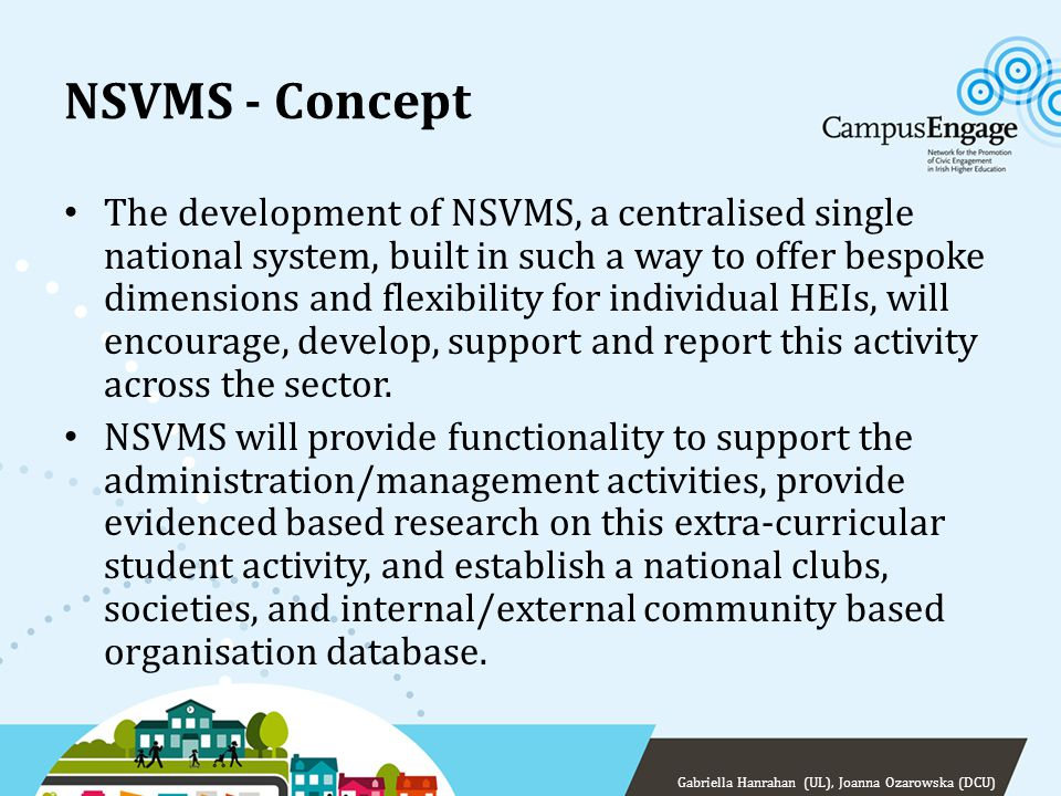 NSVMS - Concept The NSVMS will: – profile student volunteers, and their volunteer preferences – profile clubs & socs and community organisations (internal/external) engaging with student volunteers – profile student led engagement activities – monitor performance of both students volunteers and their clubs, socs, community organisations – produce local and national reports to facilitate responses to this activity – provide a resource that will stimulate research in this civic engagement area Gabriella Hanrahan (UL), Joanna Ozarowska (DCU)