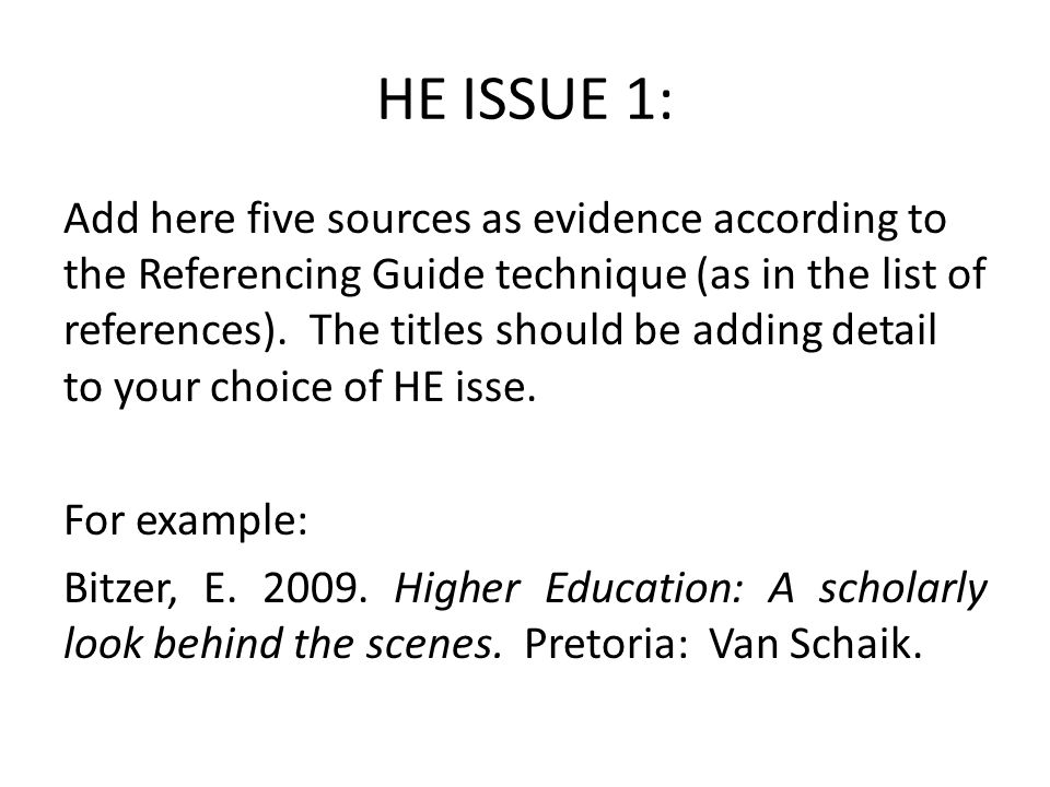 HE ISSUE 1: Add here five sources as evidence according to the Referencing Guide technique (as in the list of references).