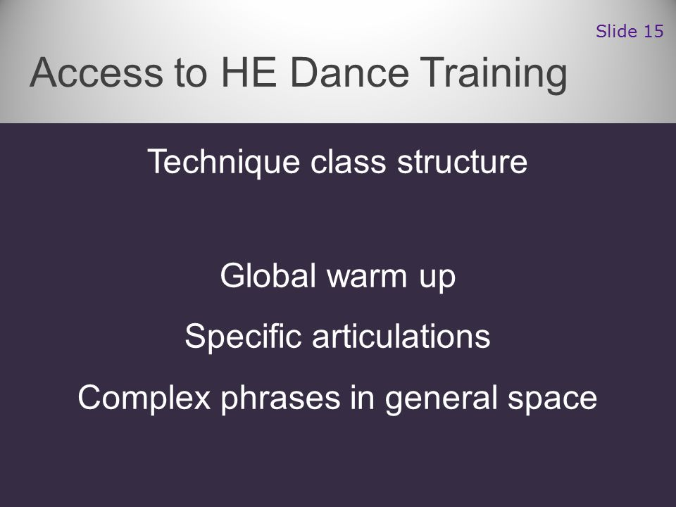 Technique class structure Global warm up Specific articulations Complex phrases in general space Access to HE Dance Training Slide 15
