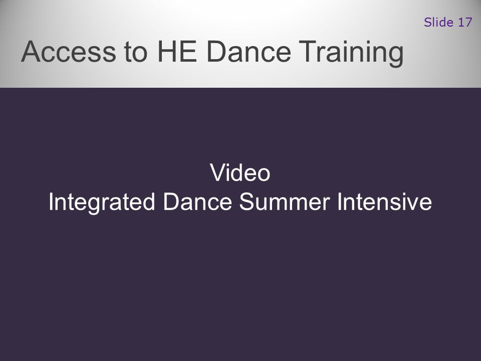 Video Integrated Dance Summer Intensive Access to HE Dance Training Slide 17