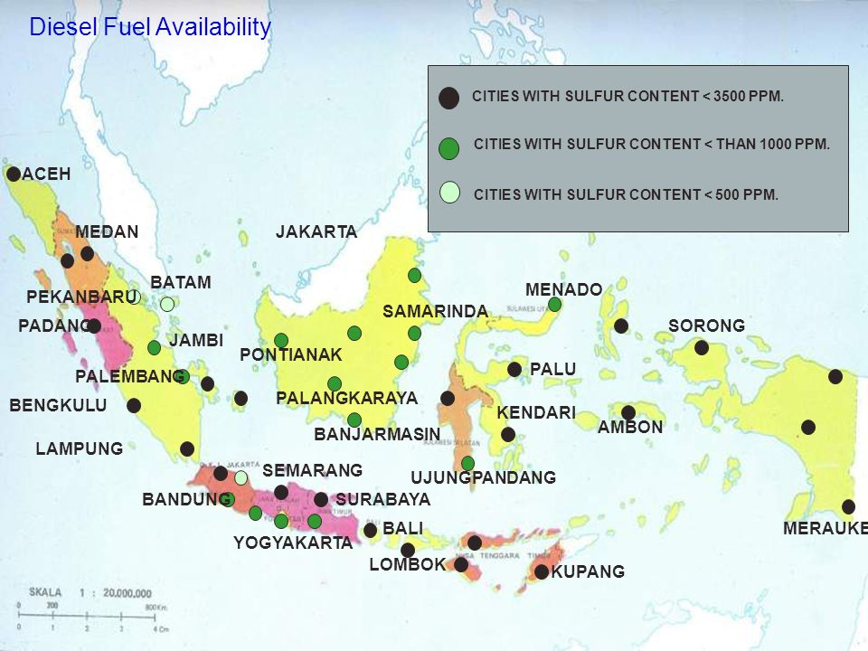 Diesel Fuel Availability CITIES WITH SULFUR CONTENT < 3500 PPM.