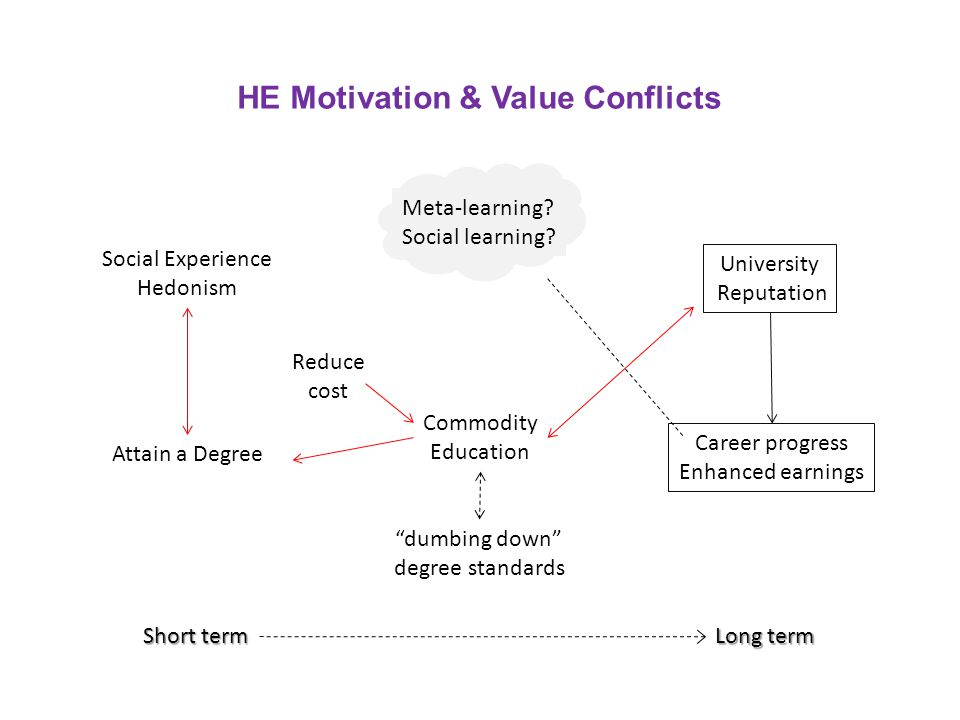 HE Motivation & Value Conflicts Short term Long term Social Experience Hedonism Attain a Degree Reduce cost Commodity Education dumbing down degree standards University Reputation Career progress Enhanced earnings Meta-learning.