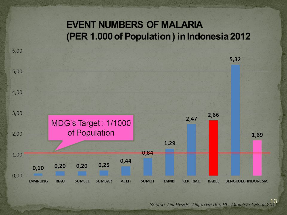 12 Source : Report of the Director General Nutrition, Ministry of Health, Update 11 Januari 2013 Renstra's Target : 75%