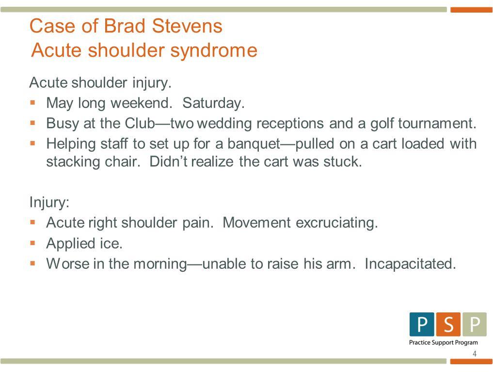 4 Acute shoulder injury.  May long weekend. Saturday.