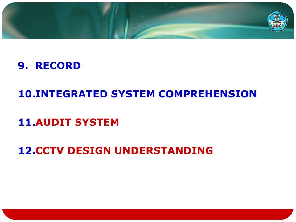 9.RECORD 10.INTEGRATED SYSTEM COMPREHENSION 11.AUDIT SYSTEM 12.CCTV DESIGN UNDERSTANDING