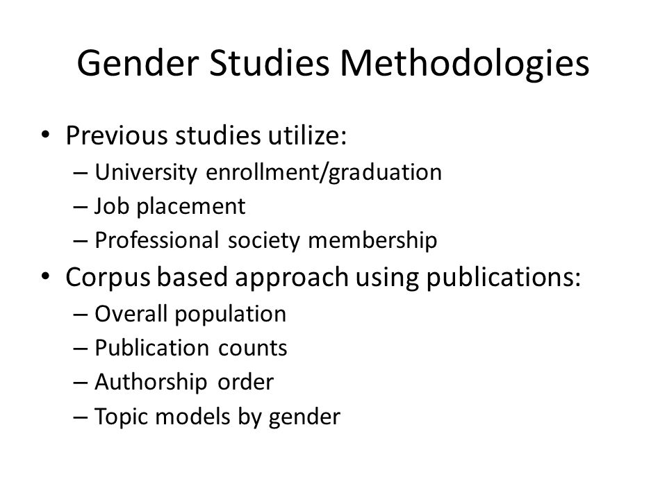ACL Anthology Network 13,000 papers 12,000 authors – Not marked for gender 1965 – 2008 – We only use data from 1980 onwards [Radev et al, 2009]
